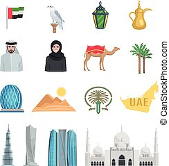 United Arab Emirates Flat Icons - United arab emirates flat...