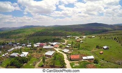 village scene - aerial shotting village