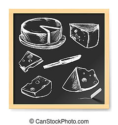 Menu for Cafe - Hand Drawn Cheese. Menu for Cafe on...