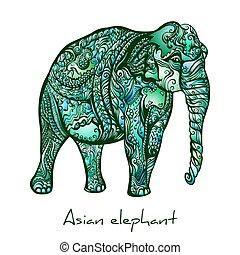 Elephant Doodle - Hand-drawn Asian Indian Elephant....
