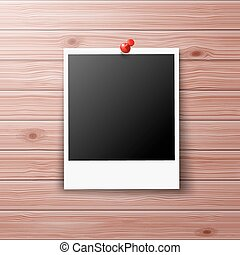 Photo Frame with Red Pin on Wooden Wall