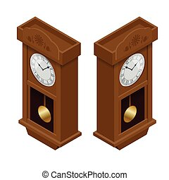 Pendulum clock. Elegant roman numeral clock. Elegant antique clock. Flat 3d Vector illustration.