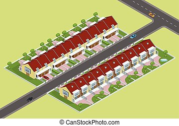Modern townhouse flat 3d isometric vector illustration. A row of new townhous. Exterior townhouse. Villa view with garden. Townhouse illustration. Townhouse JPG. Townhouse icon. Villa icon