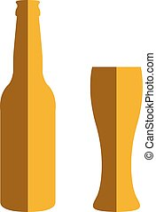 Beer bottle and glass. - Flat style beer bottle and glass...