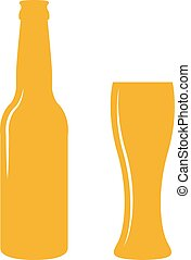 Beer bottle and glass. - Beer bottle and glass isolated on...