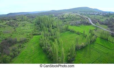 spring nature - aerial shotting village