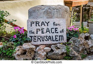 Garden Tomb in Jerusalem, inscription on the stone - The...