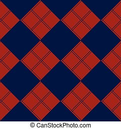 Diamond Chessboard Red Navy Blue Background - Diamond...