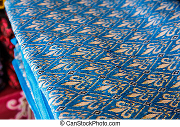 hand woven colorful fabric of northern Thailand