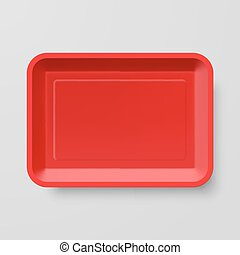 Plastic Food Container - Empty Red Plastic Food Container on...