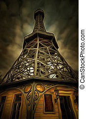 Petrin Lookout Tower - mixed media - The Petrin Lookout...