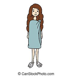 Woman in towel vector. Girl after shower hand drawn.