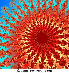 Fractal red orange flower digitally generated on the blue background
