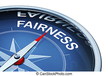 fairness - 3d rendering of a compass with a fairness icon