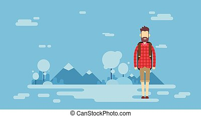 Traveler Man Outdoor Hiking Over Mountain Background Banner