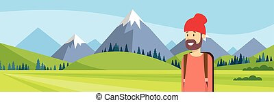 Traveler Man Hiking Over Mountain Background Outdoor...