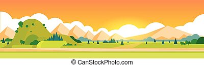 Mountain Summer Landscape Horizontal Banner