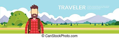Traveler Man Hiking Over Mountain Background Outdoor Tourism...