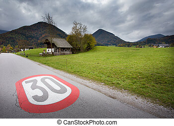 Speed limit sign in the village - Warning painted road sign...