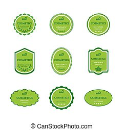 Set of labels for bio cosmetics