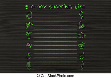 5-a-day shopping list template - 5-a-day shopping list,...