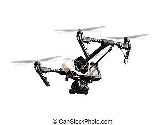 Drone isolated on white background - Drone with camera,...