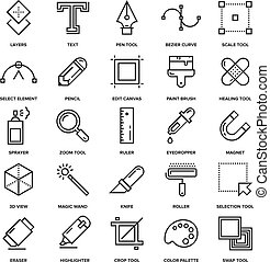 Design Tools Icons - Abstract vector collection of line...