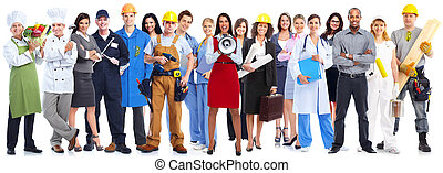 Group of workers people - Group of workers people isolated...