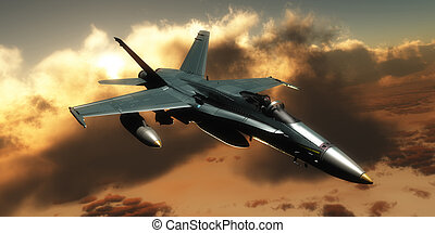 FA-18 Hornet Fighter - A pilot takes a FA-18 Hornet Fighter...