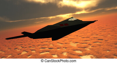 Stealth Fighter Jet Side View