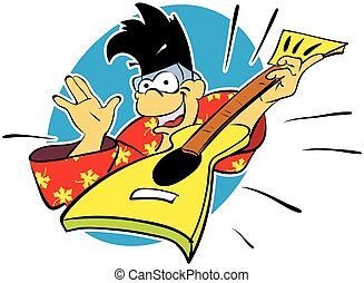 Cartoon monkey rocker with punk hairstyle playing rock.