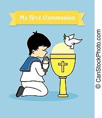 Boy praying - my first communion card. Boy praying together...