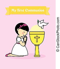 girl praying - my first communion card. girl praying...