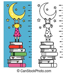 meter wall. Girl rise to the books trying to catch the moon