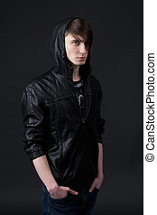 attractive caucasian guy wearing a  leather jacket