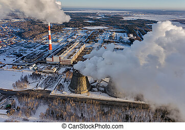 City power plant in a winter season Tyumen Russia - Tyumen,...