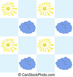 Sun and cloud seamless pattern