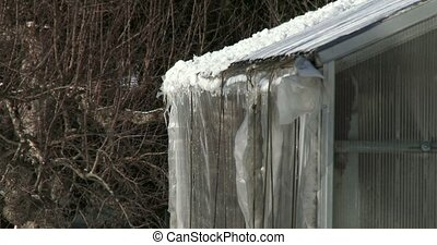 Snow melting on the roof of a small greenhouse in winter in...