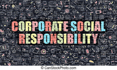 Corporate Social Responsibility in Multicolor. Doodle Design.
