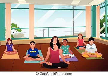 Kids in Yoga Class - A vector illustration of happy kids in...