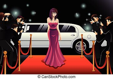 Woman Going to a Red Carpet Event - A vector illustration of...