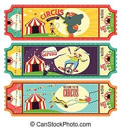 circo, boleto, diseño,