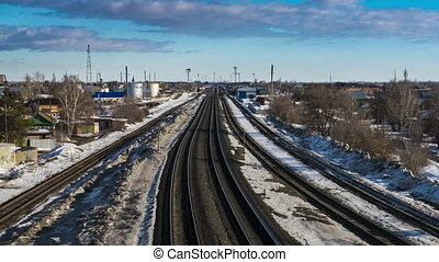 train moves along the railway - train moving by rail on a...