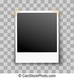 Photo Frame on Transparent Background with Adhesive Tape