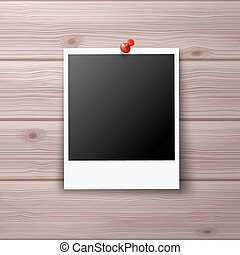 Photo Frame Pinned with Red Pin on Wooden Wall