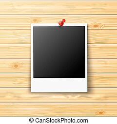 Photo Frame - Retro Photo Frame Pinned on Wooden Wall