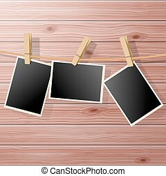 Photo Frames - Photo Frame Fixed Hanging on Rope with...