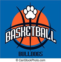 bulldogs basketball team design with paw print for school,...