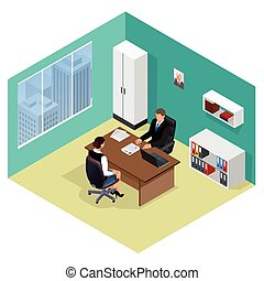 Job interview. Job applicants. Concept of hiring worker. Candidate and recruitment, hire and interviewer, decision and examination. Flat 3d isometric illustration. Meeting isometric.