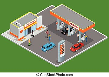 Vector Clip Art of Fuel gauge isometric 3d icon on a white ...